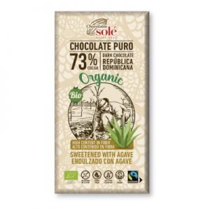 Chocolate Negro 73% Cacao con Agave 100g -Sin Azúcar Sacarosa- BIO